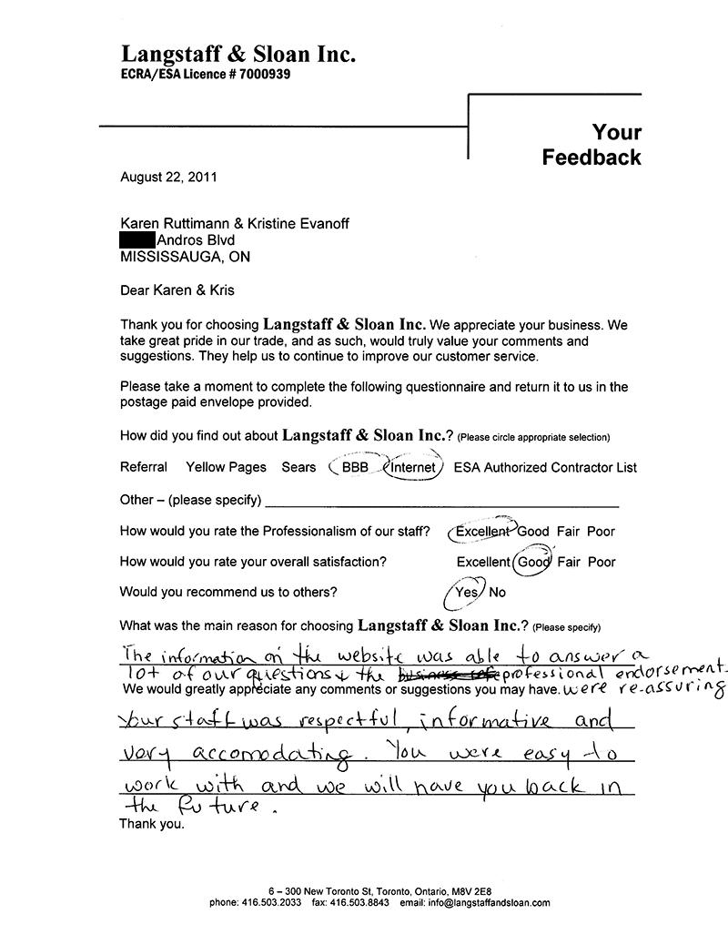 Langstaff & Sloan Testimonial
